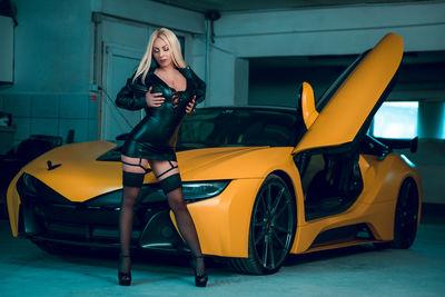 Car and hot babe